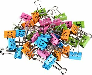 Smiley Colored Binder Clips 40 pack Paper Clamps Binder Clips Bulk Office Work
