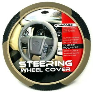 New Tan Beige Massage Car Steering Wheel Cover Pu Leather Size M 14 5 15 5