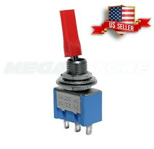 1x Premium Spdt Red Mini Toggle Switch On on Abs Flat Bat Handle Usa Seller