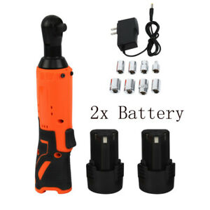 12v Cordless 3 8 Electric Ratchet Wrench Tool W 2 Battery Charger Sockets Kit