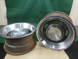 Pair Ford 14x7 5 Slot Styled Steel Wheels W Caps And Rings Mustang Cougar Torino