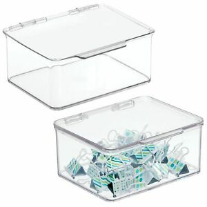 Mdesign Plastic Stackable Home Office Supplies Storage Box Lid 2 Pack Clear