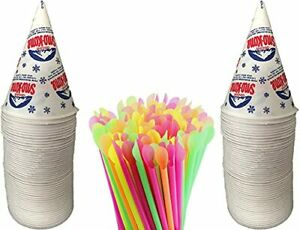 Concession Essentials 200 Count 6oz Snow Cone Cups With 200 8 Neon Spoon Straws