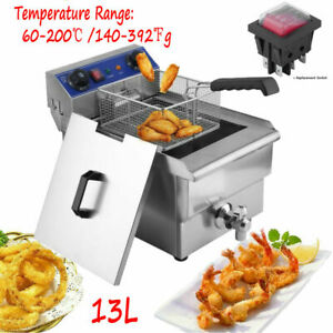 13l Stainless Steel Commercial Restaurant Electric Deep Fryer W timer And F5