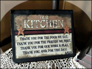 Country Distressed Print Canvas Kitchen Prayer Thank You For The Food 8x10
