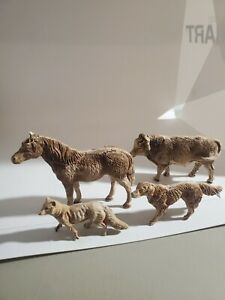 Antique Early Primitive Sculpted Carved Animals Horse Cow Fox Dog Painted