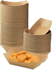 250 Pack 0 50 Lb Heavy Duty Disposable Kraft Brown Paper Food Trays Grease Res
