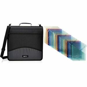 Basics 3 ring Binder With Zipper O ring 3 Inch Black Two Pocket Plastic D