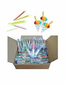 Snow Cone Cup Kit With 50 Cups 50 Straws And 100 Candy Spoons Great For Kids