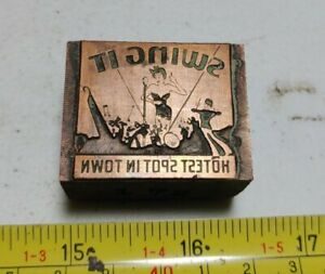 Vintage Letterpress Printing Block Swing It Orchestra Band Risque Woman Singer