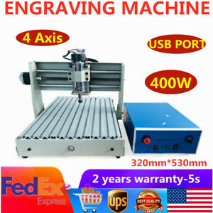 Usb 4 Axis Cnc 3040t Router Engraver Wood Carving Milling Drilling Machine 400w