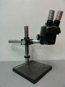 Bausch Lomb 0 7x 3x Microscope Head W Bauch Lomb Heavy Base Stand