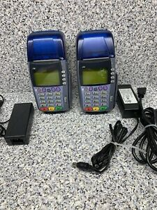 2 Untested Sold As Is Verifone Omni 3750 Credit Card Terminals W Chip Readers
