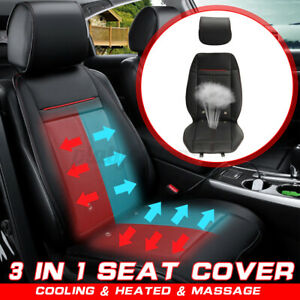 3 In 1 Adjustable Massage Cooling Warm Car Seat Cover Cushion Switch Pu Leather