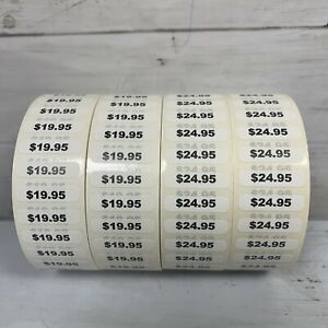 4 Rolls Of Boutique Price Stickers 19 95 25 95 500 Stickers Per Roll 2000