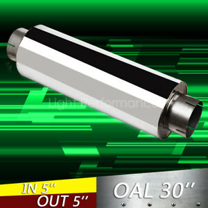 5 Inch Stainless Steel Polished Performance Diesel Muffler 24 Body 30 oal