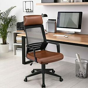 Yaheetech Executive ergonomic Office Chair High Back Leather Back Support Brown