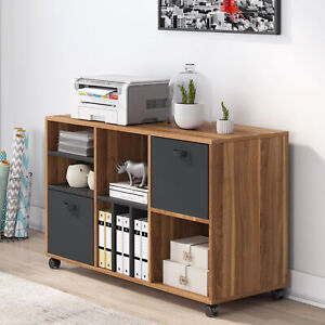 Vertical File Cabinet With 2 Fabric Drawers Open Shelves Home Office Furniture