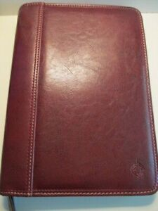 Compact Franklin Covey Brown Leather 1 5 Rings Zip Planner Binder Euc Quality