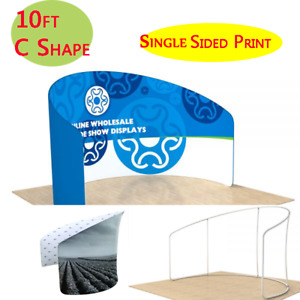 10ft C Shape Back Wall Fabric Trade Show Tension Display With Custom Graphic