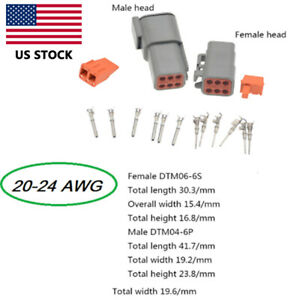 1 Set Electrical Car Auto 6 Pin Dtm Waterproof Wire Connector Plug Kit 20 24 Awg