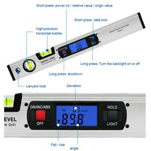 Digital Display 400mm Non magnetic Spirit Level Woodworking Tool 0 360