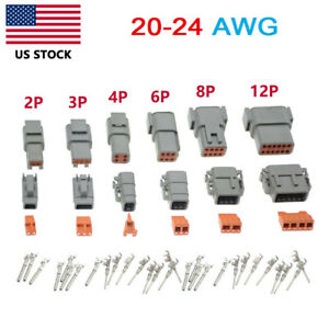 Deutsch Dtm 2 3 4 6 8 12 Pin Waterproof Electrical Wire Connector Kit 20 24 Awg