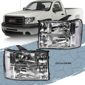 Pair Headlights Headlamps Fit For 2007 13 Gmc Sierra 1500 2500hd 3500hd Clear Fits More Than One Vehicle