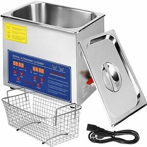 Vevor 6l Ultrasonic Cleaner Stainless Steel Industry Heated Heater With Timer