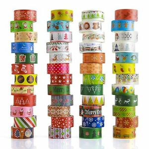 Christmas Washi Tapes 48 Rolls 15mm Wide Masking Tape Set Covering Different