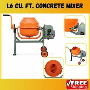 Electric Concrete Cement Mixer Portable And Stamped Steel Drum With Metal Frames