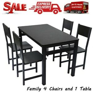5 Pieces High Gloss Dining Table Black Wooden Table And 4 Chairs Kitchen Us