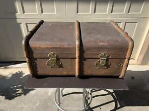 Vintage Wood Bound Steamer Travel Trunk Suitcase By Graeser Of Lausanne