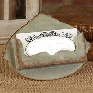 New Distressed Gray Business Card Holder Metal Shabby Vtg Look Galvanized Rust