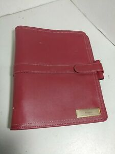 Day timer Folio Soft Burgandy Leather Planner paper 8 1 2 X 5 1 2 Size