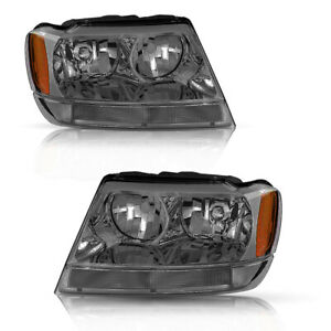 For 1999 2004 Jeep Grand Cherokee Wj Smoked Housing Headlights Left Right Set