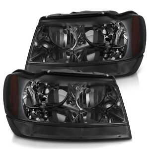 For 1999 2004 Jeep Grand Cherokee Wj Smoked Housing Headlights Left Right Set Fits 2001 Jeep Grand Cherokee