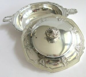 Antique Tiffany Co Makers Sterling Silver Covered Vegetable Serving Dish Bowl