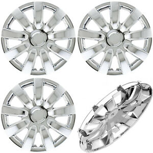4 Pc Of 15 Inch Chrome Hub Caps With Metal Clips Covers For Steel Wheel Cap