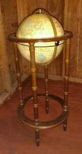 Vintage 12 Cram S Imperial World Globe On 36 Powell Wooden Stand