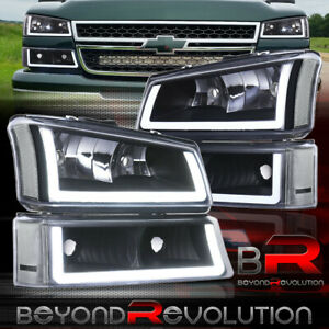 For 2003 2007 Chevy Silverado 1500 2500 3500 Led Drl Black Headlights Bumpers
