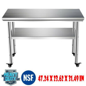 Rolling Stainless Steel Top Kitchen Work Table Cart Casters Shelving 48 x24