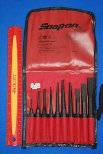 New Snap On Tools 11 Piece Starter Pin Amp Center Punch Amp Chisel Set Ppc710bk