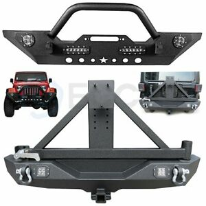 Front Bumper Rear Bumper W Tire Carrier With Lights For 07 18 Jeep Wrangler Jk