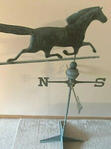 Vintage Weathervane Copper Race Horse With Stand And Directional Nsew