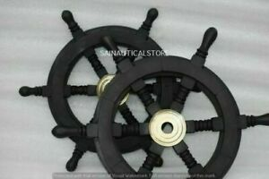 Vintage Nautical Ship Steering Wooden Black Wheel 12 And 15 Inch With Brass Base