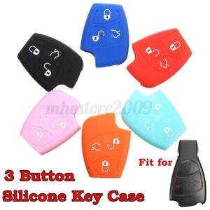 3 Button 5 Color Silicone Remote Key Fob Shell Case Cover Holder For Mercedes