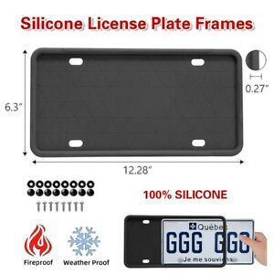 2pcs Silicone License Plate Frames Holder Universal American Auto Black Frame Us