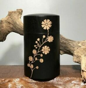 Japanese Style Solid Wood Lacquer Tea Caddy Flower Portable Wood Box Tea Caddy