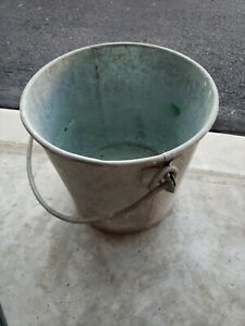Vtg Old Galvanized Metal Patina Chore Bucket Pail Heavy Duty Thick Handle